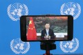 Chinese President Xi Jinping addresses the UN General Assembly by video last month, but approval of him abroad is low, a Pew survey has found. Photo: AP