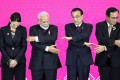 New Zealand's Prime Minister Jacinda Ardern, India's Prime Minister Narendra Modi, Chinese Premier Li Keqiang and Thai Prime Minister Prayuth Chan-ocha attempt to link hands at the third Regional Comprehensive Economic Partnership summit in Bangkok, Thailand, on November 4, 2019. Photo: Reuters