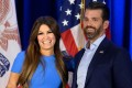 Donald Trump Jr. and girlfriend Kimberly Guilfoyle at a press conference. Photo: Agence France-Presse