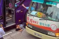 The driver of a tourist bus was beaten unconscious. Photo: Facebook