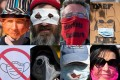 Portraits of people and placards from a protest against masks and virus restrictions Konstanz, southern Germany. Photo: AFP