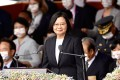 Taiwan President Tsai Ing-wen delivers her speech in Taipei. Photo: AFP