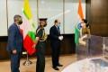 India's Ambassador to Myanmar Saurabh Kumar, Chief of Army Staff M.M. Naravane and Foreign Secretary Harsh Vardhan Shringla meet Myanmar State Counsellor Aung San Suu Kyi on October 5. Photo: Twitter