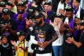 Los Angeles Lakers forward LeBron James speaks after receiving the NBA Finals MVP. Photo: USA Today Sports