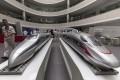 Models of high-speed trains in Qingdao, China. Photo: EPA