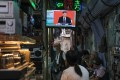 A telecast of Chinese President Xi Jinping's Shenzhen speech shown in Hong Kong on Wednesday, October 14, 2020. Photo: Bloomberg