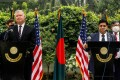 US Deputy Secretary of State Stephen Biegun, left, and Bangladesh's Foreign Minister AK Abdul Momen at a press conference in Dhaka on Thursday. Photo: AFP