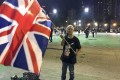 Alexandra Wong Fung-yiu poses with a Union flag in Victoria Park in June last year. Photo: SCMP