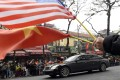 The US and Vietnamese flags are waved in Hanoi as a motorcade transports North Korean leader Kim Jong-un to a summit with President Donald Trump. Photo: AP