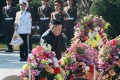 North Korean leader Kim Jong-un lays a floral tribute at the cemetery of the martyrs of the Chinese People's Volunteers (CPV) in Hoechang County, South Phyongan province on October 22. Photo: DPA