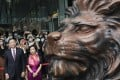Peter Wong Tung-shun, deputy chairman and chief executive for Asia Pacific and Diana Cesar, CEO for Hong Kong at HSBC attend a blessing ceremony of the iconic lion sculptures at the bank's headquarters in Central, Hong Kong on October 22, 2020. Photo: Felix Wong