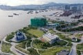 An aerial view of the West Kowloon Cultural District, including Freespace in the foreground and the Hong Kong Palace Museum site in the background. Photo: SCMP Pictures
