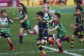 Boys and girls play together in a mini rugby game at the Hong Kong Sevens in 2019. Photo: Jonathan Wong