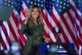 First lady Melania Trump arrives to speak at a campaign rally in Atglen, Pennsylvania, on Tuesday. Photo: AP