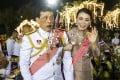 Thai King Maha Vajiralongkorn and Thai Queen Suthida greet supporters outside the Grand Palace in Bangkok. Photo: EPA