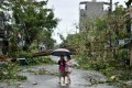 Women walk past uprooted trees in central Vietnam's Quang Ngai province in the aftermath of Typhoon Molave. Photo: AFP