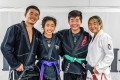 ONE Championship lightweight champ Christian Lee with his siblings Victoria Lee (second left), Adrian Lee (second right and ONE atomweight champ Angela Lee (right). Photo: Instagram