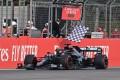 Mercedes' Lewis Hamilton crosses the finish line to win the Emilia Romagna Grand Prix on Sunday. Photo: Reuters