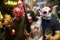 People celebrate Halloween in Lan Kwai Fong Central. Photo: SCMP/Winson Wong