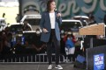Democratic US vice-presidential nominee Kamala Harris speaks during an event in Orlando, Florida – wearing sneakers on stage. Photo: AFP