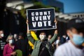 Demonstrators gather in front of Independence Hall in Philadelphia, Pennsylvania, on Wednesday to rally for ensuring that every ballot is counted in the 2020 US presidential election. Photo: EPA-EFE