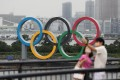 The Olympic Rings are seen at Odaiba Marine Park in Tokyo, Japan in July. Photo: Xinhua