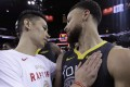 Toronto Raptors guard Jeremy Lin greets Golden State Warriors guard Stephen Curry after the 2019 NBA Finals. The pair have been training together ahead of the new season. Photo: AP