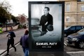 A poster depicting French teacher Samuel Paty who was killed on October 16. Photo: AFP