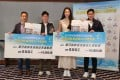 Fencer Vivian Kong (third from left) and gymnast Shek Wai-hung (second from left) were named the best women's and men's athletes of 2019 by the Hong Kong Sports Press Association. Photo: Handout