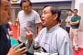 A still from the video of tai chi master Ma Baoguo talking to the referee before his embarrassing 30-second knockout. Photo: Handout