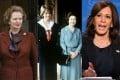 From left, Margaret Thatcher, Princess Diana and Queen Elizabeth, Kamala Harris. Photos: AP, Bettmann Archive, AFP