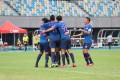 Kitchee players celebrate after their first goal in a 3-2 win over R&F 3-2 at Tseung Kwan O Sports Ground in October. Photo: Chan Kin-wa