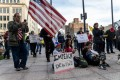 People protest against Covid-19 restrictions in Columbus, Ohio. Photo: AFP