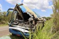 The wreckage of a bus that collided with a truck is seen by the road in Brazil on Wednesday. Photo: AP