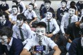 Pupils hold a sit-in outside a Hong Kong school last year. Photo: Winson Wong
