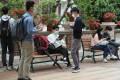 Students at University of Hong Kong in Pok Fu Lam amid the coronavirus outbreak. Photo: Nora Tam
