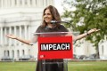 Neera Tanden speaks at a rally in support of impeachment in front of the Capitol on September 26, 2019. File photo: AFP