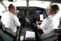 American Airlines pilots captain Pete Gamble, left, and first officer John Konstanzer in the cockpit of the Boeing 737 MAX. Photo: Reuters