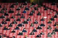 Arsenal fans are socially distanced between blocked seats at the Europa League group B match against Rapid Vienna in London. Photo: EPA