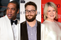From left, Jay-Z, Seth Rogen and Martha Stewart: three Hollywood A-listers with companies that sell cannabis products. Source: AP/AFP