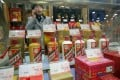 Kweichow Moutai brand of liquor on display at a store in Shanghai, China. The baijiu distiller and its rival Wuliangye Yibin are among the top five most researched and preferred stocks by analysts and investors in mainland China. Photo: Handout