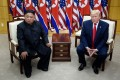 North Korea's Kim Jong-un and US President Donald Trump meet on June 30, 2019. The US special envoy for North Korea has urged the North Korean leader to return to talks. Photo: TNS