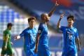 Ulsan Hyundai's Junior Negrao celebrates scoring during the quarter final win over Beijing Guoan. Photo: Xinhua