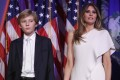 Barron Trump and his mother Melania, seen here on stage after Donald Trump delivered his acceptance speech on November 9, 2016. With his term almost done, what lies ahead for his wife and youngest son? Photo: Getty Images/AFP