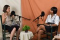 Nicole Lim records an episode of her podcast 'Something Private' with guest Noorindah Iskandar. Photo: AFP