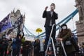 Exiled activist Nathan Law addresses a recent rally in London. Photo: NurPhoto via Getty Images