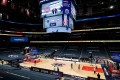 The Washington Wizards and Detroit Pistons get ready for a preseason game at Capital One Arena in Washington. The 72-game regular season starts on Tuesday, despite the pandemic still raging across the US. Photo: EPA