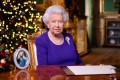 Queen Elizabeth records her annual Christmas broadcast in Windsor Castle on Thursday. Photo: PA via Reuters