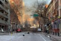 Damage is seen on a street after an explosion in Nashville, Tennessee. Photo: Metro Nashville Police Department/AFP