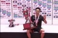 Kento Momota with the trophy after winning the All-Japan National Championships in Tokyo. Photo: Handout